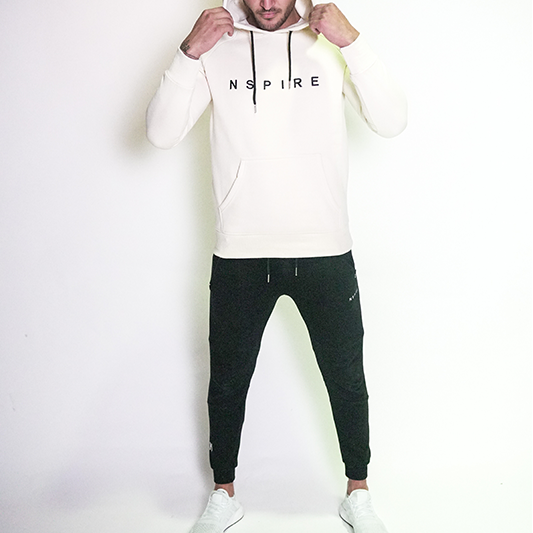 Fitted Block Hoodie - Creme