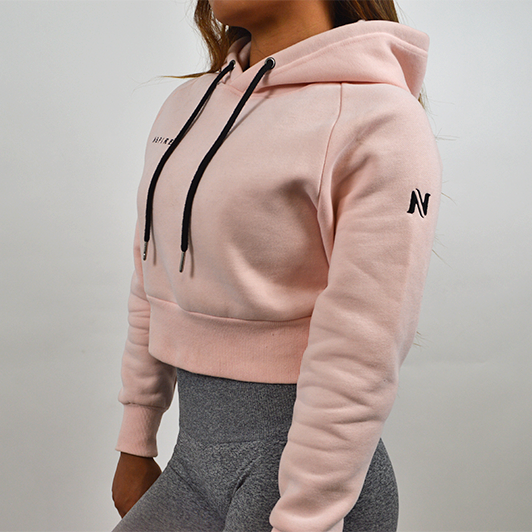 Cropped Hoodie- Shell Pink