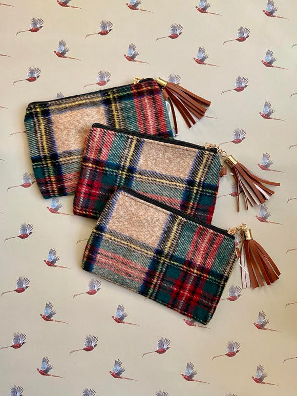 Tan Plaid Wristlet