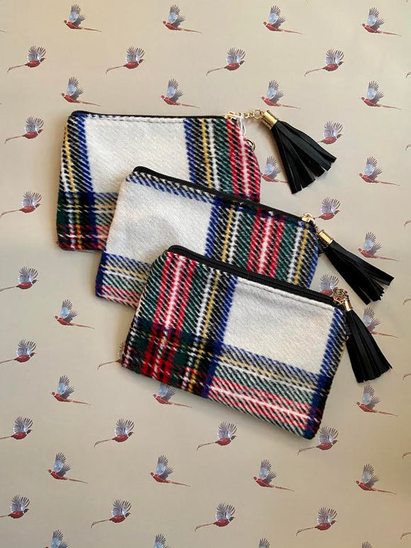 White Plaid Wristlet
