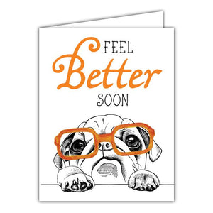 Pup With Glasses, Feel Better Soon Card