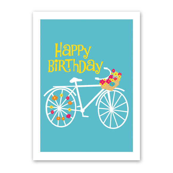 Bike + Flowers Birthday Card