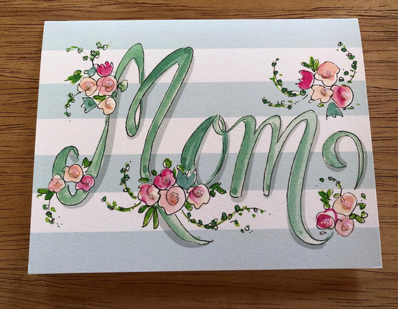 Stripes and Floral Mother's Day Card