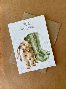 Dog and Rainboots Card