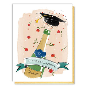 Graduation Hat Champagne Bottle Card
