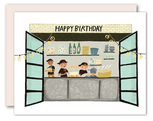 Hipster Restaurant Kitchen Birthday Card
