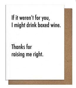 Boxed Wine Mother's Day Card