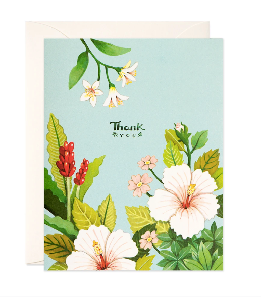 Floral Thank You Card - Blue