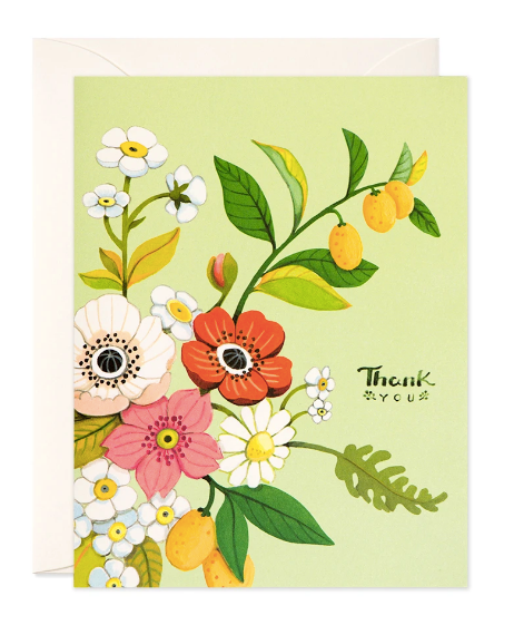 Floral Thank You Card - Green
