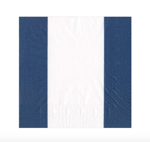 Blue and White Stripe Cocktail Napkin