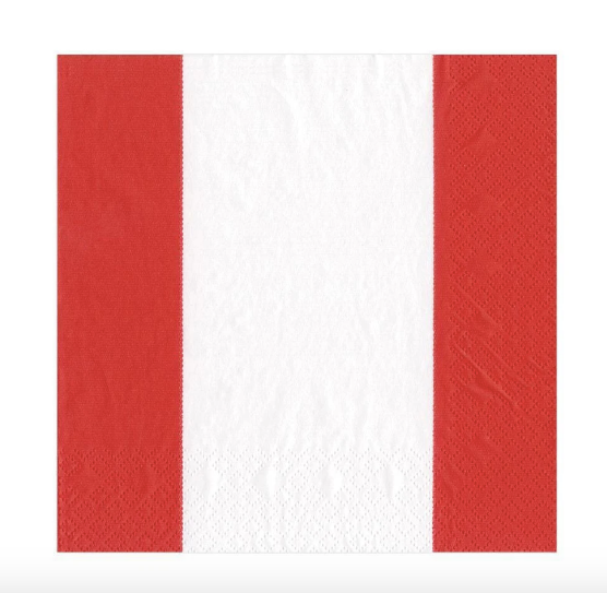 Red and White Stripe Luncheon Napkin