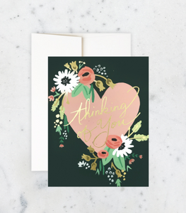 Heart and Flowers Thinking of You Card