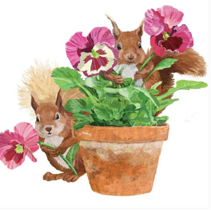 Squirrel & Flower Pot Cocktail Napkins