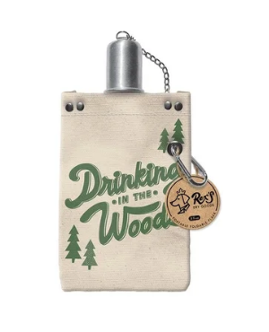 Drinking in the Woods Canvas Flask