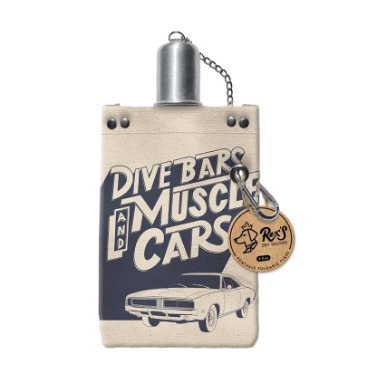 Dive Bars and Muscle Cars Canvas Flask