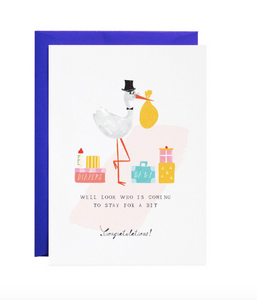 Stork & Suitcase Baby Card