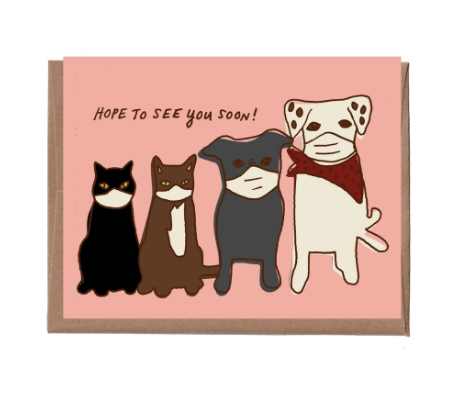 Dogs and Cats in Masks Card