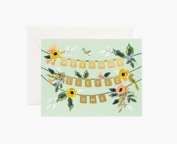 Rifle Paper Co. Welcome Garland Baby Card