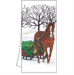Winter Horse Sleigh Kitchen Towel