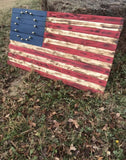 Hand Crafted 13-star American Flag W/ Brass Stars