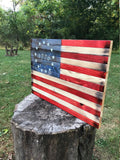 1776 Betsy Ross Rustic Wood American Flag Hidden Gun Concealment Cabinet