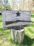 Come And Take Wood Flag Gun Rack