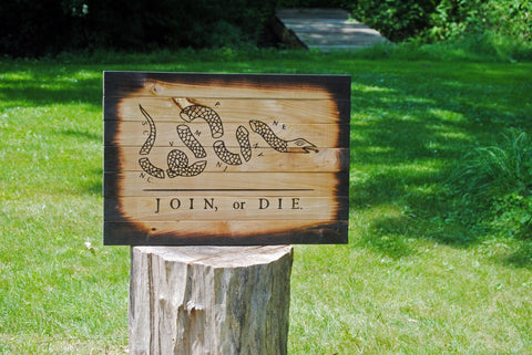 Join Or Die Wooden Flag Rustic Decor
