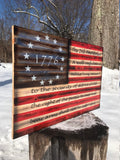 1776 Betsy Ross American Wood Flag with Second Amendment