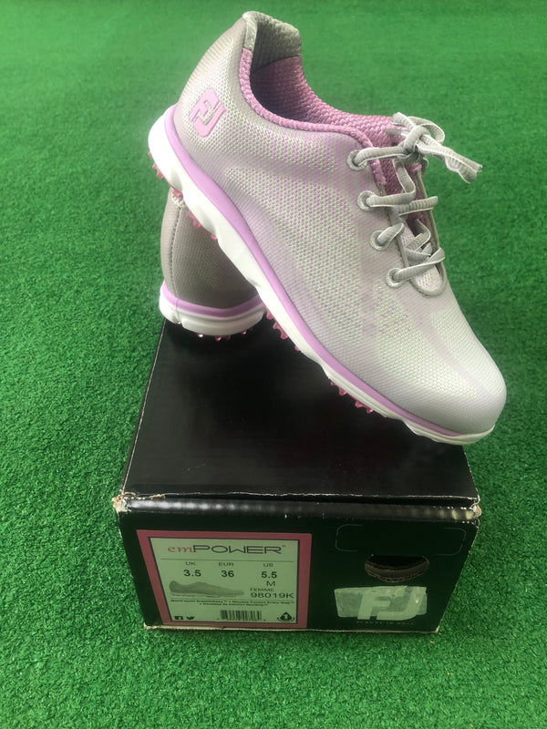 Ladies Footjoy emPower Golf Shoes / UK 3.5 / Ladies Golf Shoes / White and Pink - Replay Golf