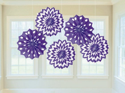 Fan Decorations Printed Paper (Purple)