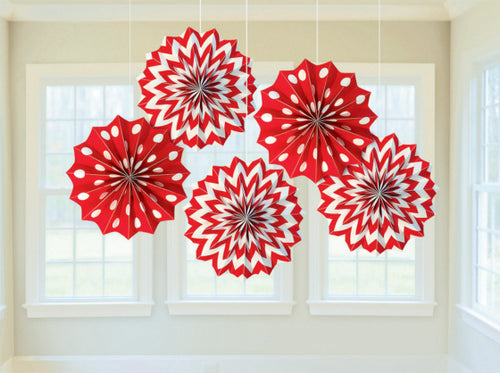 Fan Decorations Printed Paper (Red)