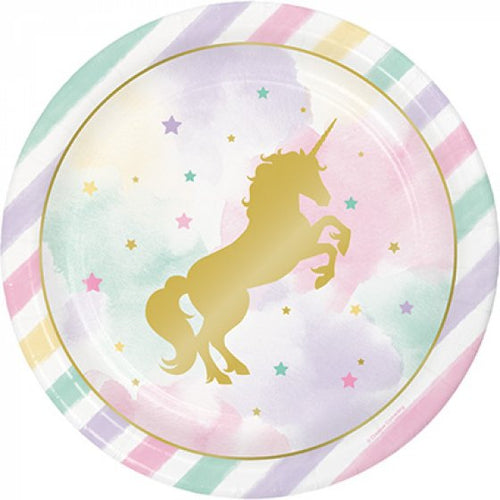 Unicorn Sparkle Paper Plates - Gold Foil Stamped