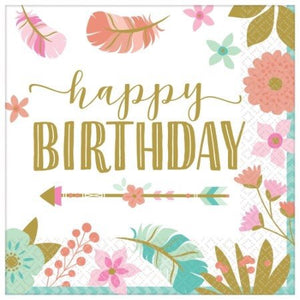 *Boho Birthday Girl Lunch Napkins