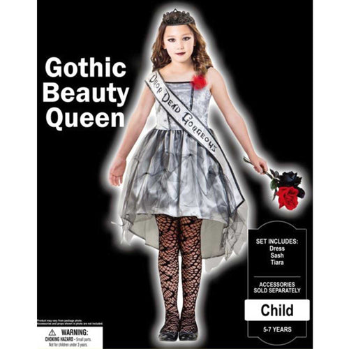 Costume Gothic Beauty Queen Girls 8-10yrs