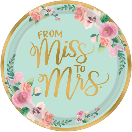 Mint To Be Paper Plates - From Miss To Mrs