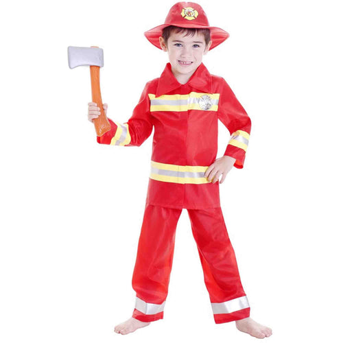 Deluxe Fireman Boy Large 6-8 Yrs