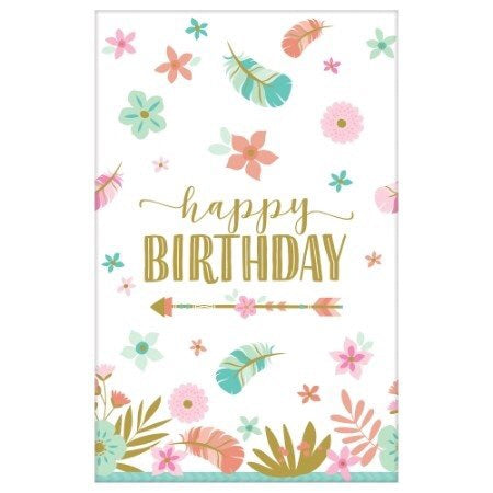 *Boho Birthday Girl Tablecover Paper