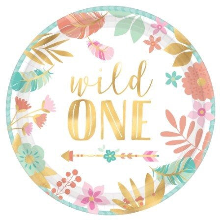 *Boho Birthday Girl Metallic Round Plates- Wild One