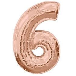 Number 6 Rose Gold