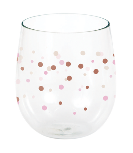 *Rose All Day Dots Wine Glass