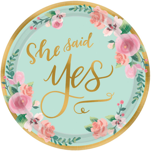 Mint To Be Paper Plates - She Said Yes