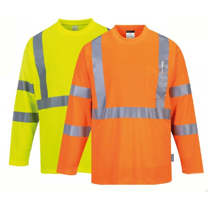 Portwest S191 Hi-Vis Long Sleeve Pocket T-Shirt