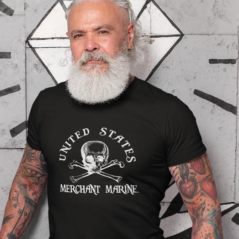 skull crossbones popular United States Merchant Marine Navy Nautical & Maritime T- Shirt design