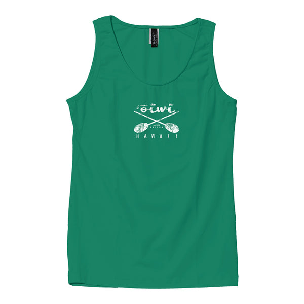 Cross Paddles Wahine UPF 50+ Tank in Green - 'Ōiwi