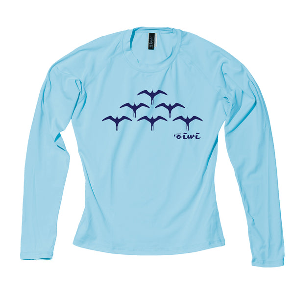 Iwa Birds Wahine Long Sleeve UPF 50+ Shirt in Light Blue - 'Ōiwi