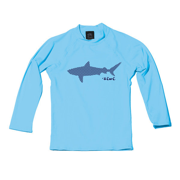 Tiger Manō Keiki Long Sleeve UPF 50+ Shirt in Light Blue - 'Ōiwi