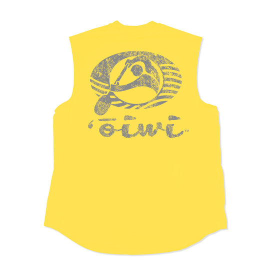 'Ōiwi Logo Weathered Sleeveleess UPF 50+ Shirt in Yellow
