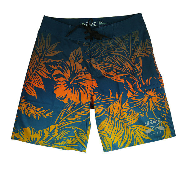 Kahala Kane Blue/Orange Board Shorts - Oiwi