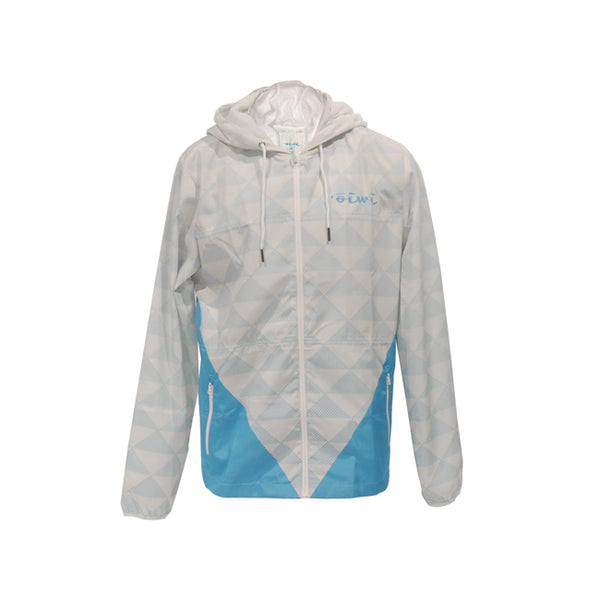 Kakau Windbreaker Jacket in White/Light Blue