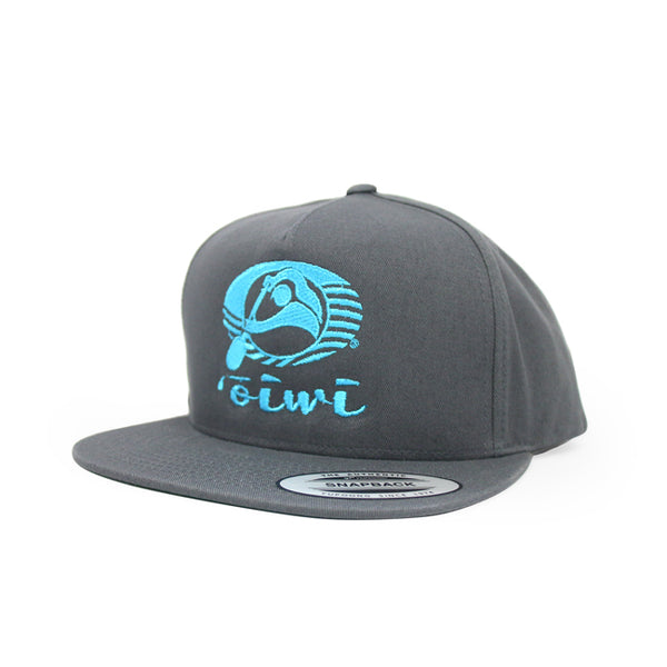 Oiwi Logo Flat Bill Hat in Grey - Oiwi